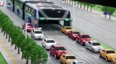 China unveils hoverbus that drives over the top of other cars