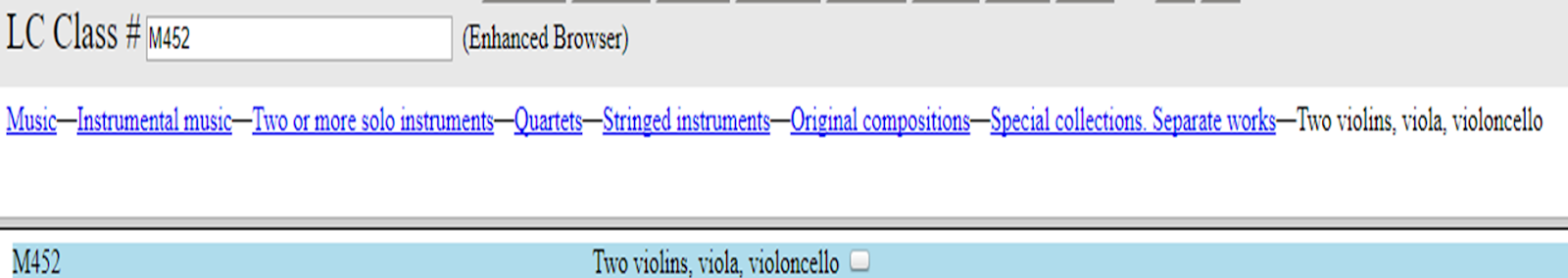 Figure 4: classification for string quartets (two violins, viola, violoncello).  Source: www.classificationweb.net.