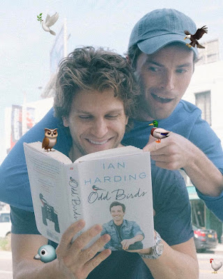 PLL actors Keegan Allen and Ian Harding with 'Odd Birds' memoir book