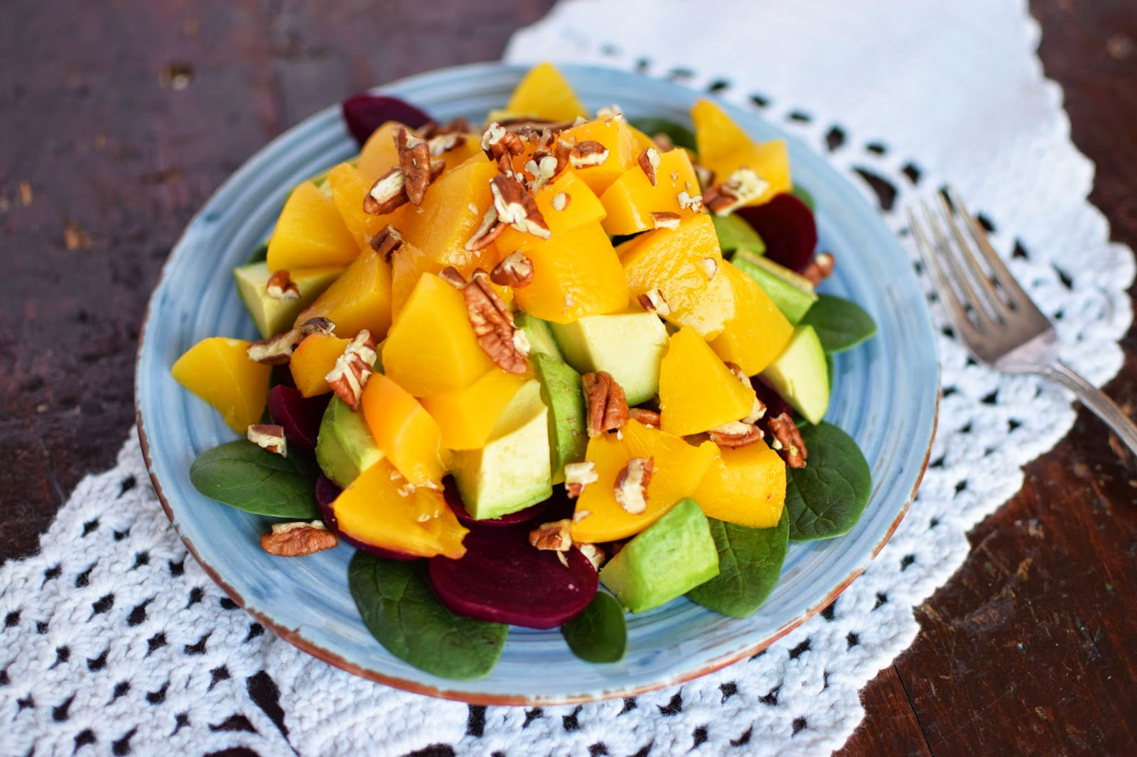 Sunny Peach Salad with Avocados Beets and Pecans