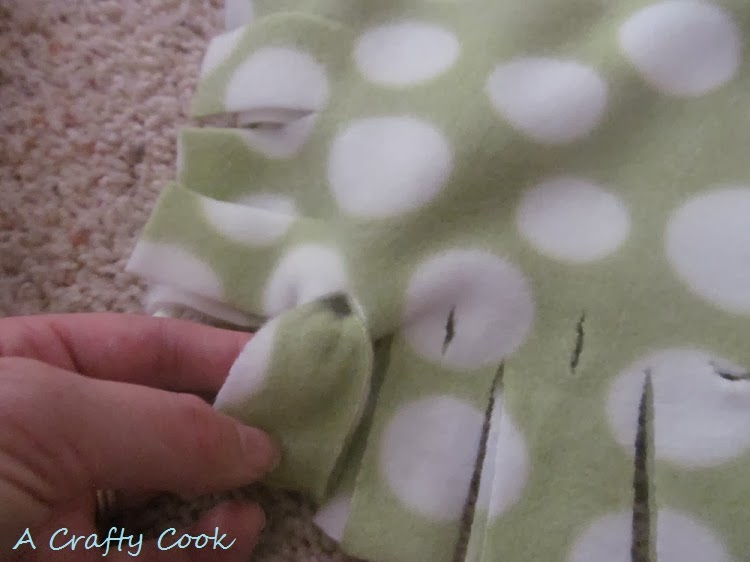 A Crafty Cook No Sew No Knot Fringe Fleece Blanket And
