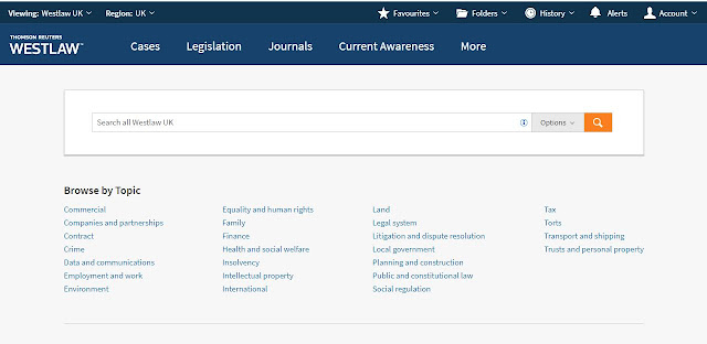 Screen shot of the new Westlaw home page