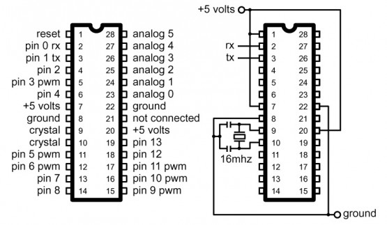 at mega 328 arduino pinout circuit diagram