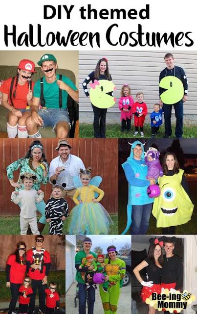 DIY family costumes, themed costumes, halloween costume, easy costumes, DIY costume, Safari costume, Incredibles costume, Mario & Luigi costume, Pacman family costume, Monster's Inc. Costume