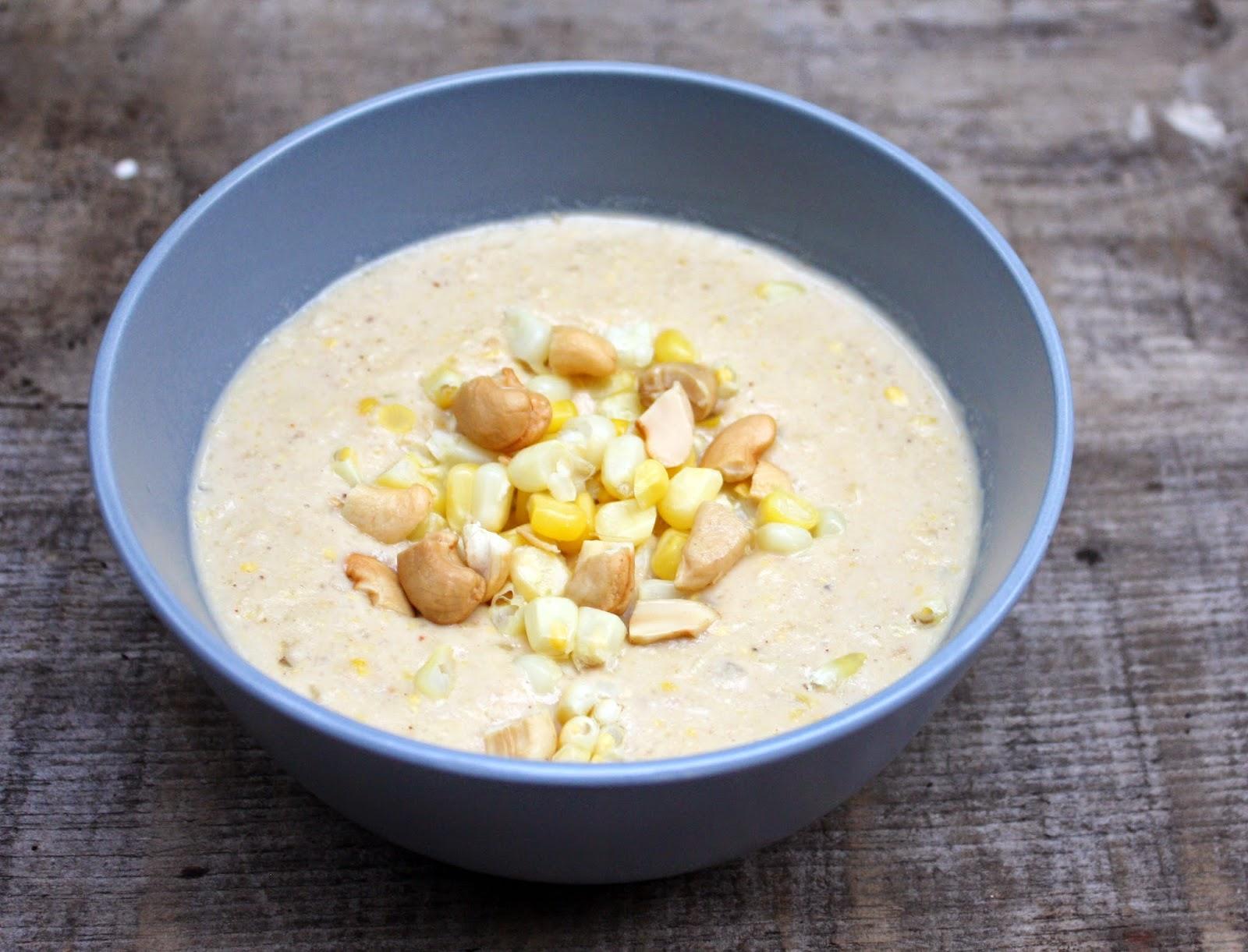 Dairy-free, vegetarian, vegan Cashew Corn Chowder