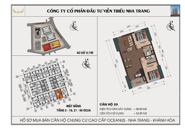 Sơ đồ căn hộ số 20 tòa OC2A Viễn Triều Nha Trang
