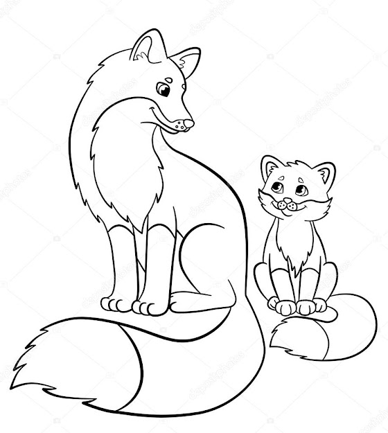 Coloring Pages Wild Animals Mother Fox With Her Little Cute Baby Fox  Smile  Stock Illustration