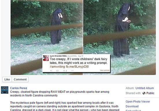Sinistra figura de capa preta aterroriza condomínio nos EUA - Post Facebook