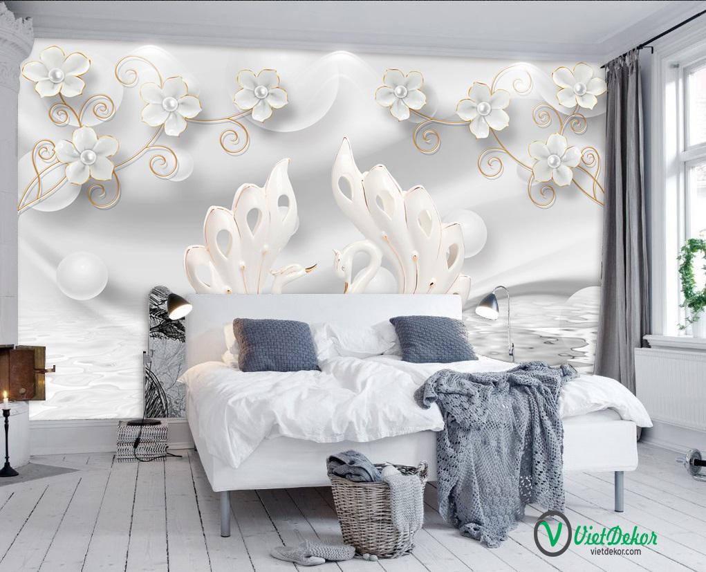 Tranh dán tường 3d hoa ngọc trai thiên nga