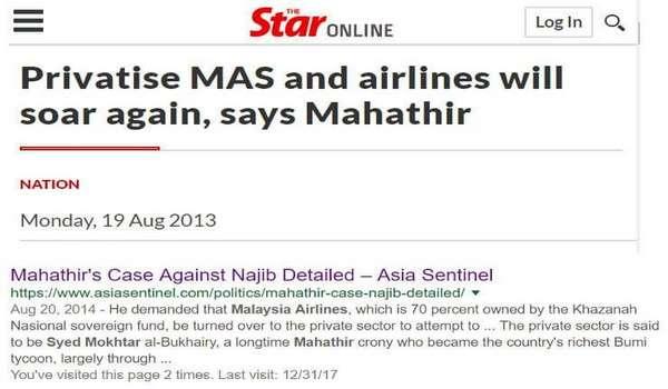Antara Punca Kemarahan Mahathir Terhadap Najib - Tak Layan Permintaan Penswastaan MAS Kepada Kroninya