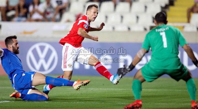 فوز كاسح لمنتخب روسيا على منتخب قبرص بخمس اهداف بدون رد في التصفيات المؤهلة ليورو 2020