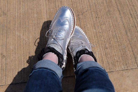 Clark's silver shoes