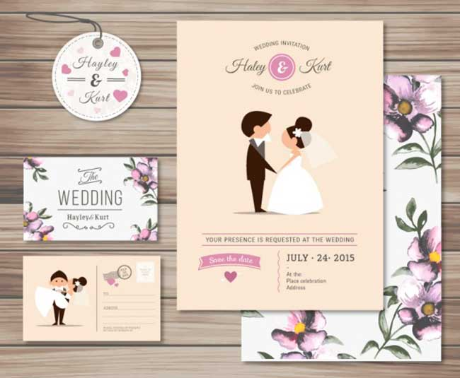 Cute wedding invitation collection download
