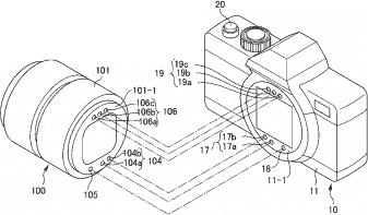 Рисунок в патенте компании Nikon показывает новую конструкцию крепления оптики с другим расположением контактов