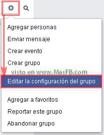 Editar la configuración del grupo - MasFB