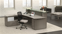 Modern Gray Wood Reception Desk