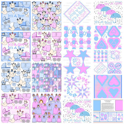 It's A Boy! It's A Girl! Baby Shower Custom Fabric Collection