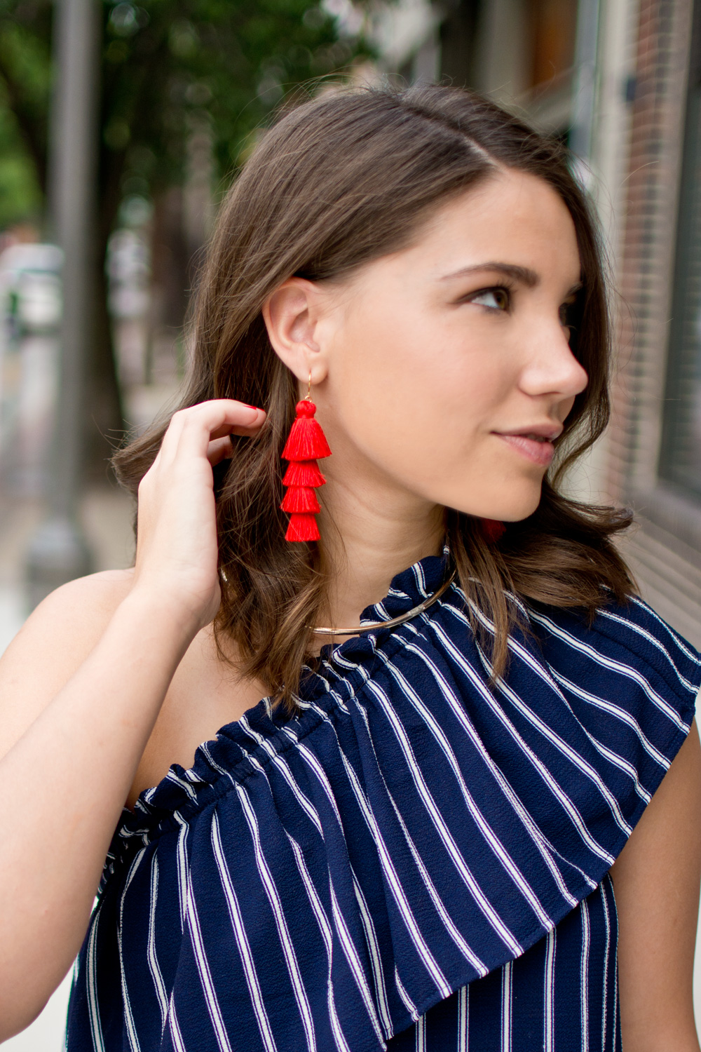 Red Bauble Bar statement earrings featured on blogger 4th of july outfit