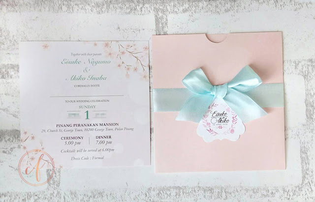 Pastel Mint & Pink Pocket Wedding Card Malaysia