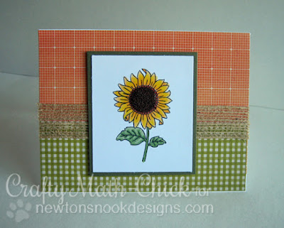 Sunflower microbeads card by Crafty Math Chick | Flower Garden Stamp set by Newton's Nook Designs