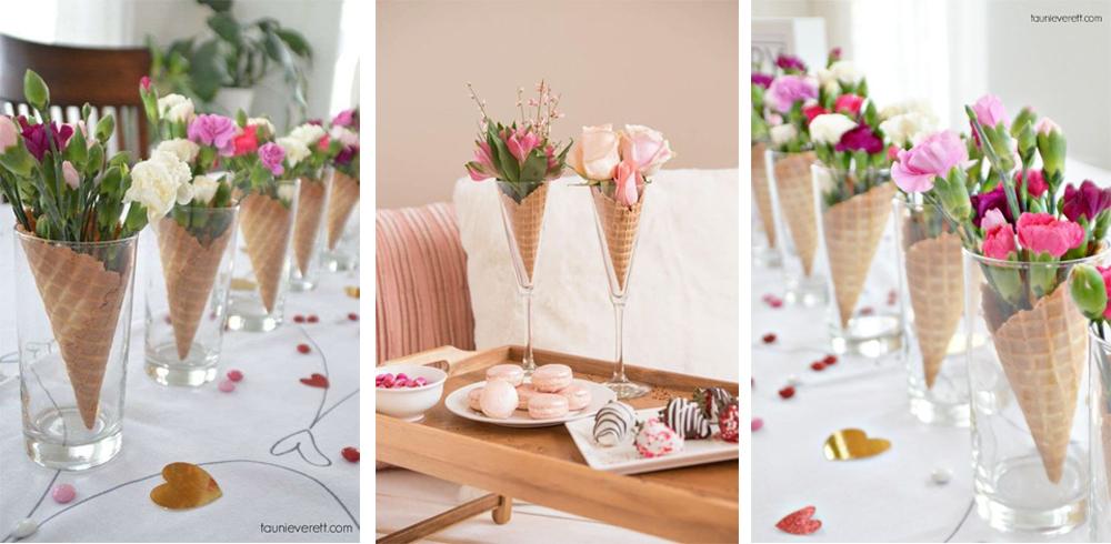diy centro de mesa con galleta de helado y vaso para san valentin decorar cena 14 de febrero facil y low cost