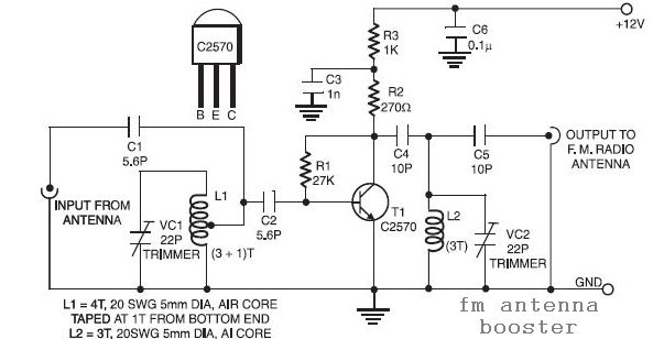 uhf antenna booster circuit schematic diagram
