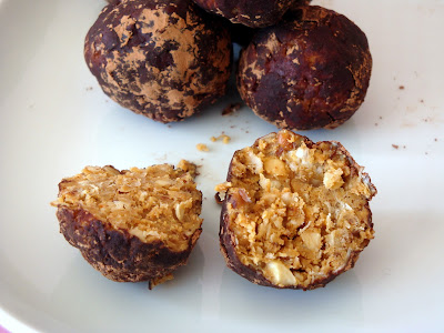 healthy chocolate peanut butter oatmeal coconut bites
