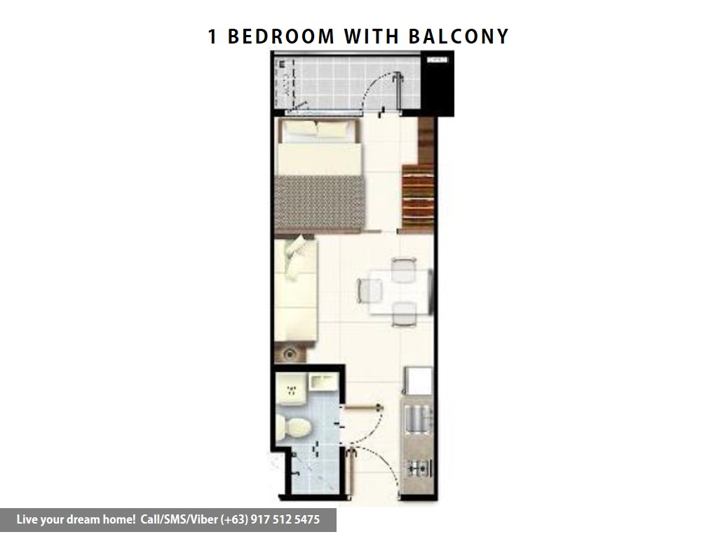 Floor Plan of SMDC Red Residences - 1 Bedroom With Balcony | Condominium for Sale Chino Roces Makati City