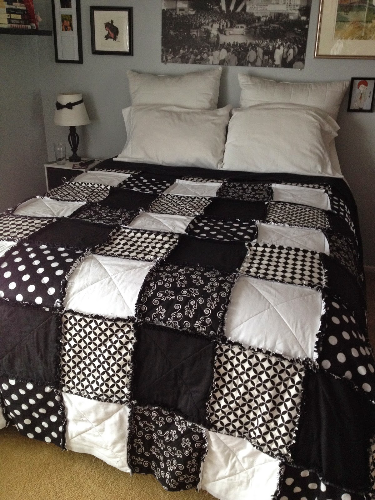 Black And White Rag Quilt