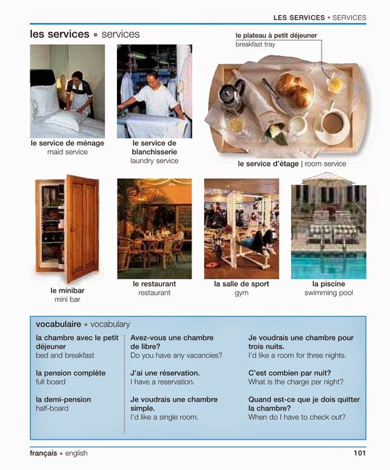 W hotelu - słownictwo 5 - Francuski przy kawie