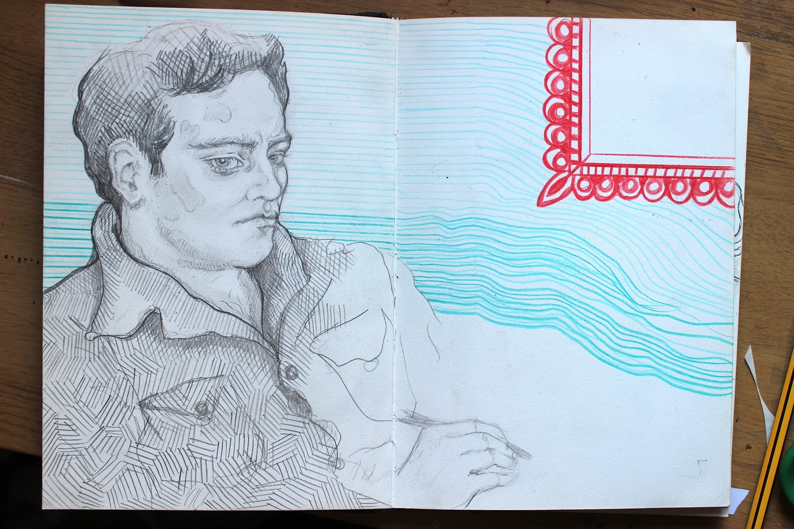 Sketchpad Notebook Sketch Drawing Pencil Colour Portrait Man in Shirt
