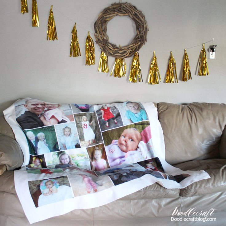 Doodlecraft Personalized Photo Sherpa Throw Blanket From Collage Impressive How To Put Throw Blanket On Bed