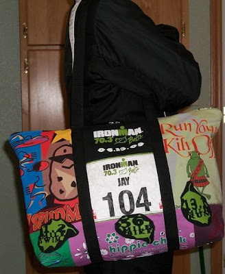 tote bag made from T-shirts and race numbers