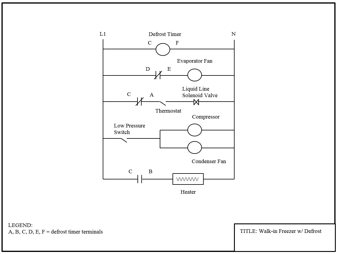 Walk-in cooler with pump down - electrical wiring diagram