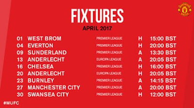 Jadwal Pertandingan Manchester United April 2017
