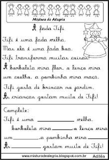 Pequenos textos para alfabetização com fada