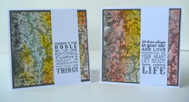 Gelatos Colored Specialty Paper Stamped Card Set by Dana Tatar