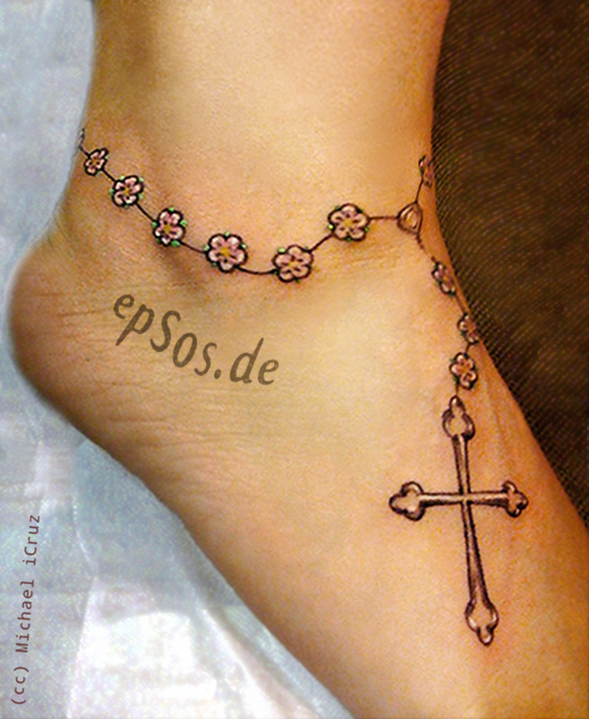 foot cross tattoo designs for women