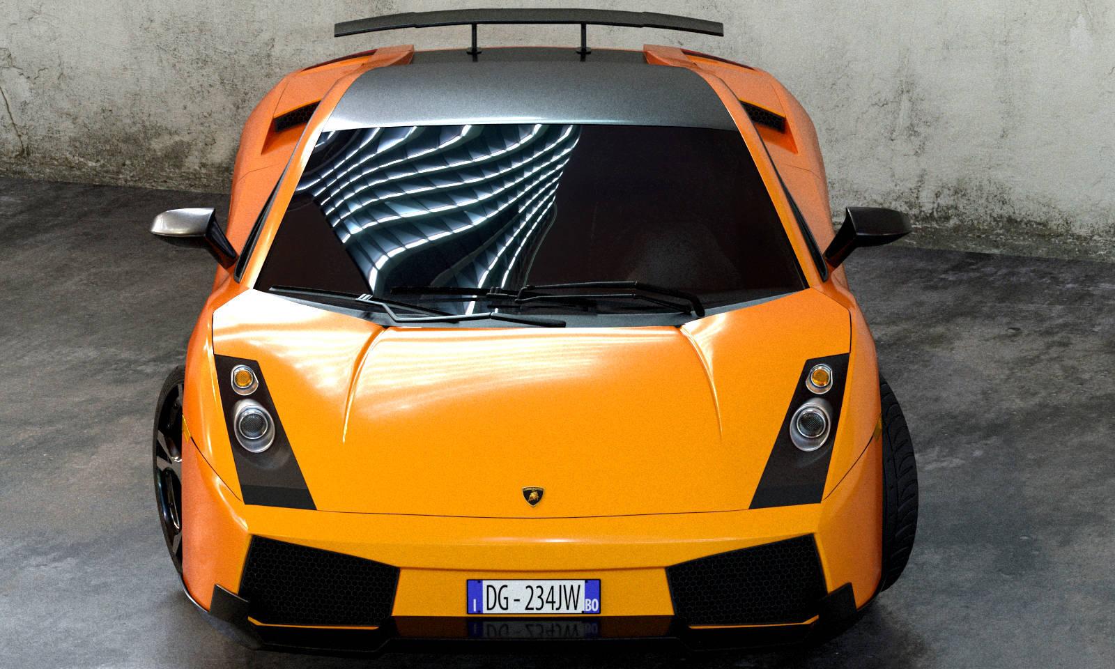 Modelo Lamborghini Gallardo 2003 Na Cor Laranja Renderizada Com O  Renderizador Vray.