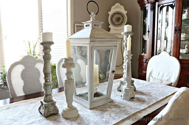 Winter Neutral decor white candlesticks lanterns tablescape