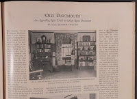 A photo of an article in House Beautiful showing the decor of a Dartmouth student dorm room.