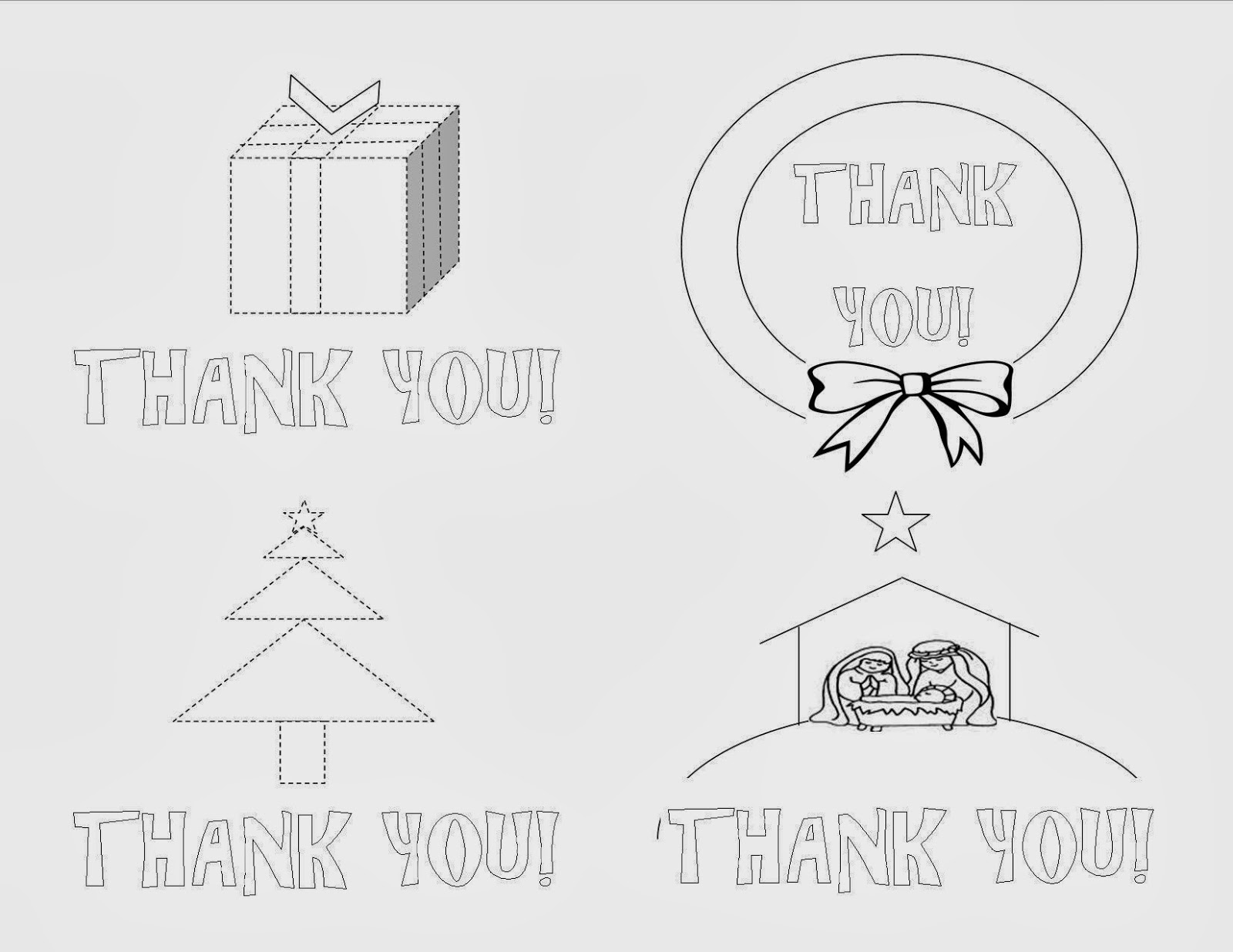 Christmas coloring page thank you notes