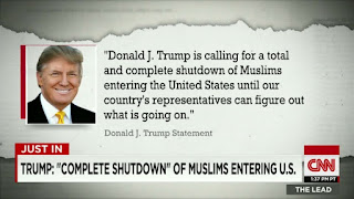 Trump banning Muslims from entering the US
