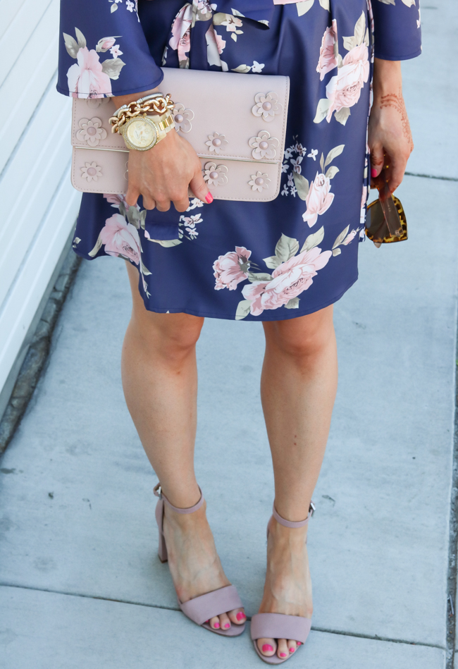 blush clutch with floral off the shoulder dress and rose quartz sandals