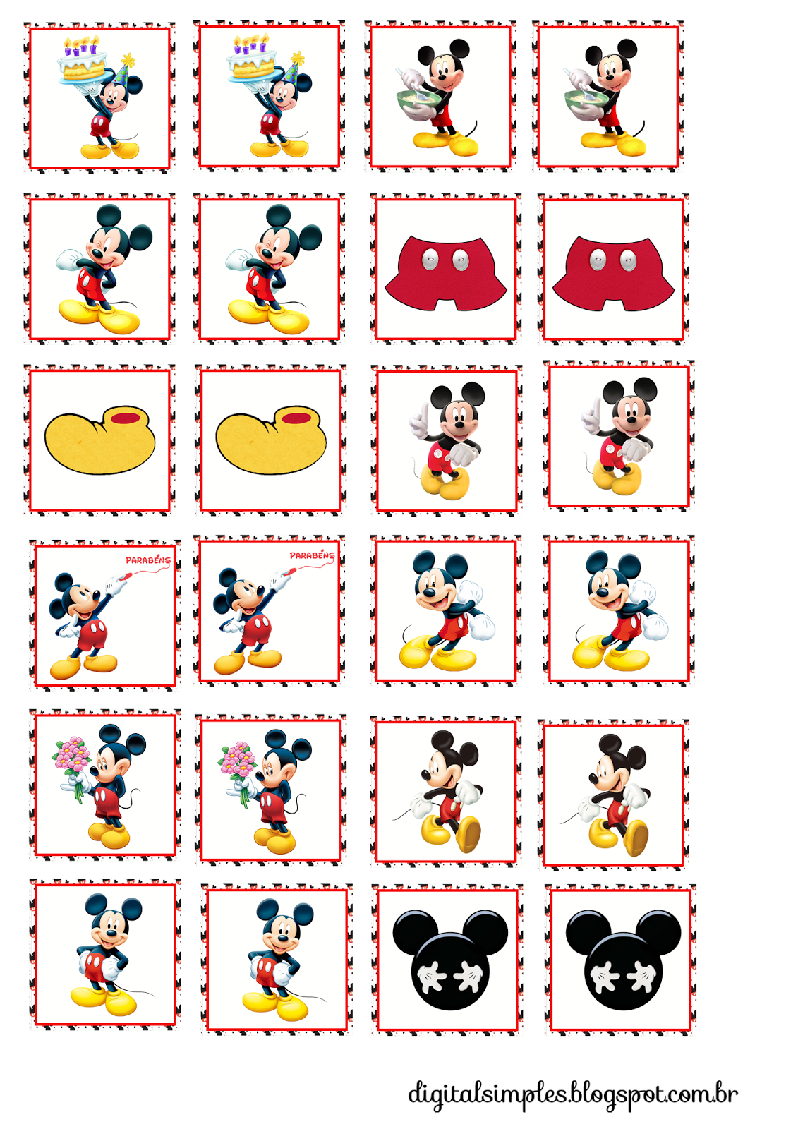 Mickey: Free Printable Toppers, Stickers, Bottle Caps or Labels.