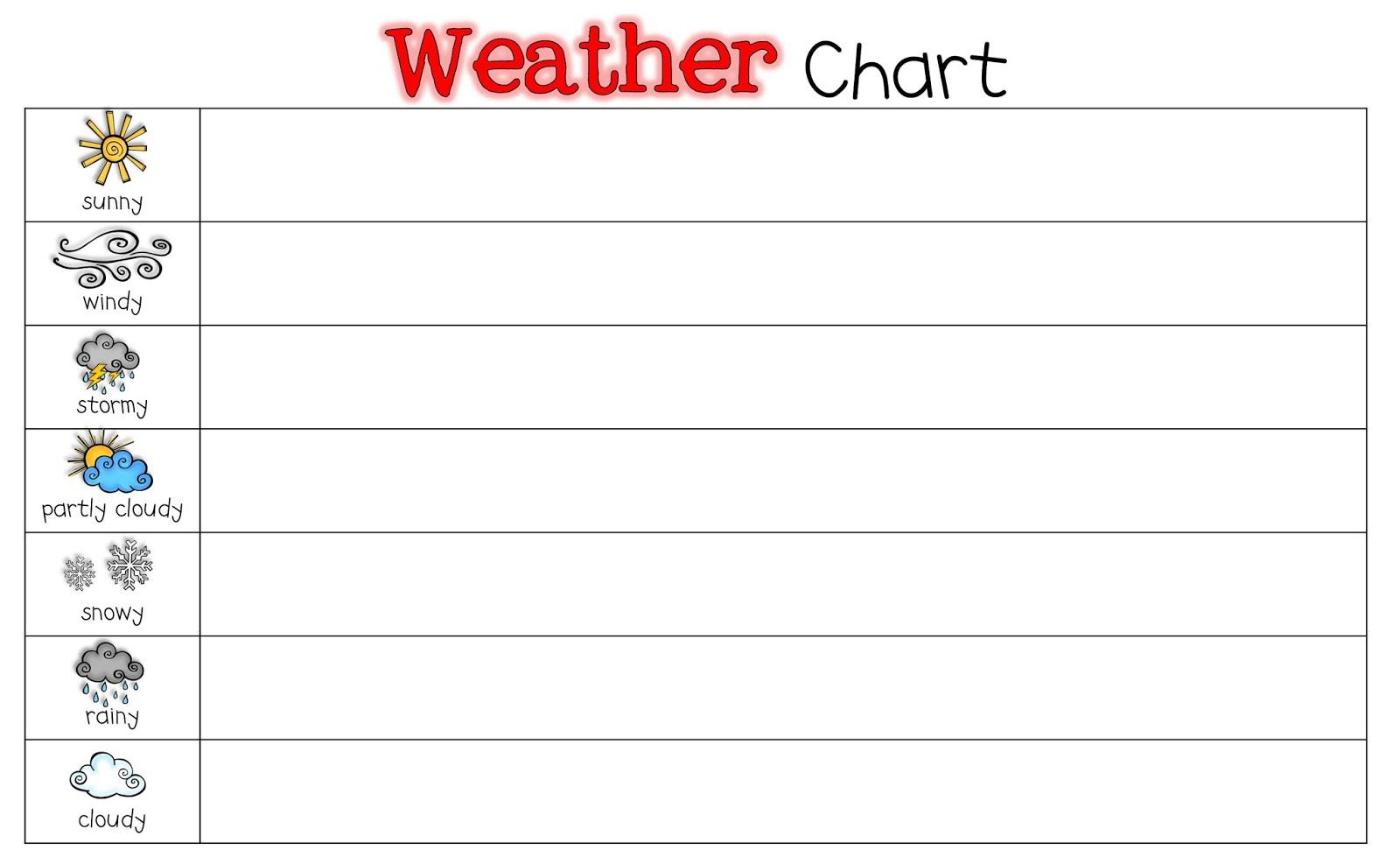 Yay For Prek Weather Chart Freebie