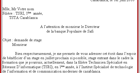 Demande De Stage Ofppt Word