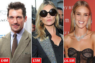 Kate Moss list of highest paid models in Britain