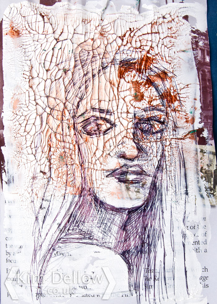 Kim Dellow face sketch in ball point pen on crackle paint