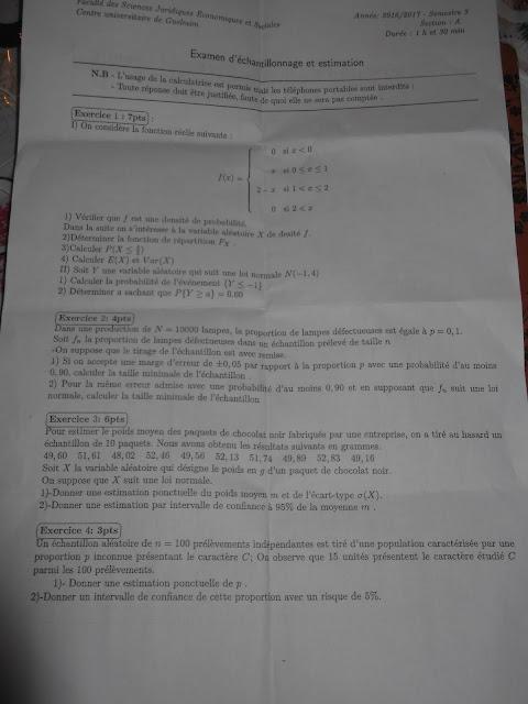 corrig u00e9 d u0026 39 examen  u00e9chantillonnage et estimation semestre 3